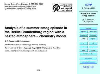 Analysis of a Summer Smog Episode in the... by Bauer, S. E.