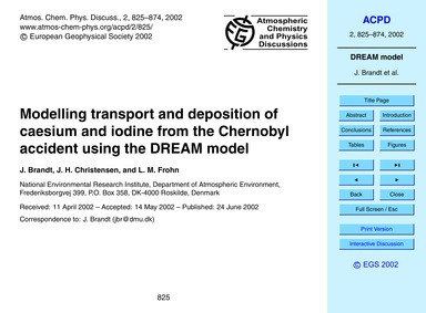 Modelling Transport and Deposition of Ca... by Brandt, J.