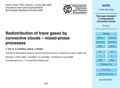 Redistribution of Trace Gases by Convect... by Yin, Y.