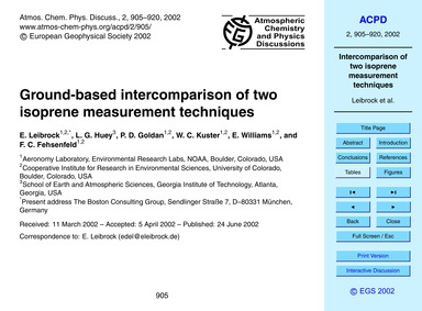 Ground-based Intercomparison of Two Isop... by Leibrock, E.