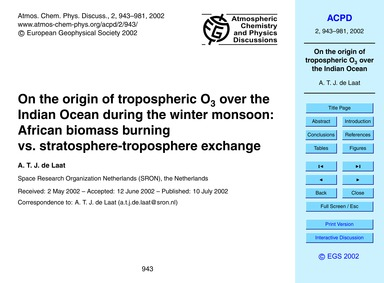 On the Origin of Tropospheric O3 Over th... by De Laat, A. T. J.
