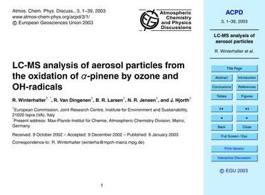 Lc-ms Analysis of Aerosol Particles from... by Winterhalter, R.