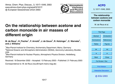 On the Relationship Between Acetone and ... by De Reus, M.