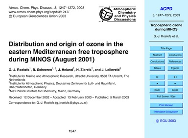 Distribution and Origin of Ozone in the ... by Roelofs, G.-j.