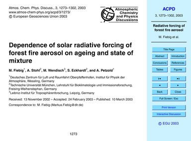 Dependence of Solar Radiative Forcing of... by Fiebig, M.