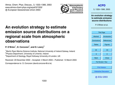 An Evolution Strategy to Estimate Emissi... by O'brien, P.