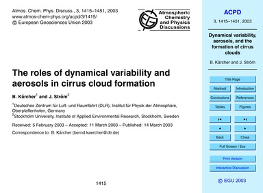 The Roles of Dynamical Variability and A... by Kärcher, B.