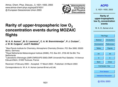 Rarity of Upper-tropospheric Low O3 Conc... by Asman, W. A. H.