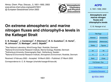 On Extreme Atmospheric and Marine Nitrog... by Hasager, C. B.