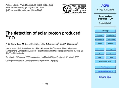 The Detection of Solar Proton Produced 1... by Jöckel, P.