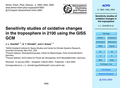 Sensitivity Studies of Oxidative Changes... by Grenfell, J. L.