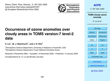 Occurrence of Ozone Anomalies Over Cloud... by Liu, X.