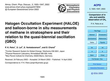 Halogen Occultation Experiment (Haloe) a... by Patra, P. K.