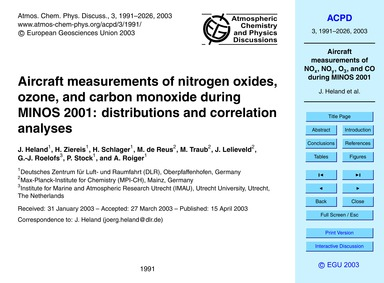 Aircraft Measurements of Nitrogen Oxides... by Heland, J.
