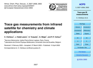 Trace Gas Measurements from Infrared Sat... by Clerbaux, C.