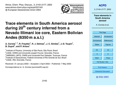 Trace Elements in South America Aerosol ... by Correia, A.