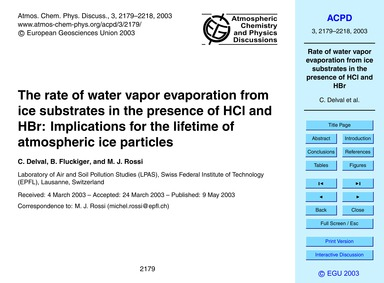 The Rate of Water Vapor Evaporation from... by Delval, C.