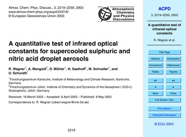 A Quantitative Test of Infrared Optical ... by Wagner, R.