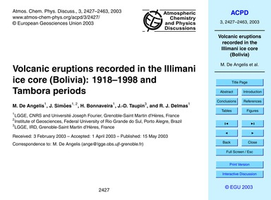 Volcanic Eruptions Recorded in the Illim... by De Angelis, M.