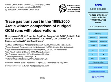 Trace Gas Transport in the 1999/2000 Arc... by Van Aalst, M. K.