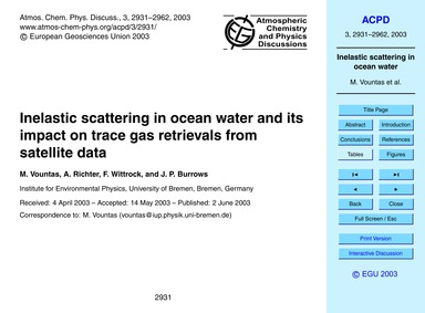 Inelastic Scattering in Ocean Water and ... by Vountas, M.