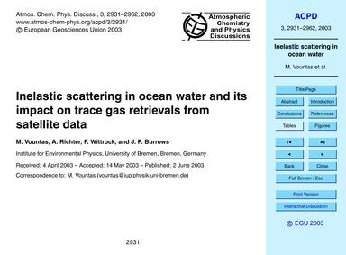 Inelastic Scattering in Ocean Water and ... by Vountas, M.