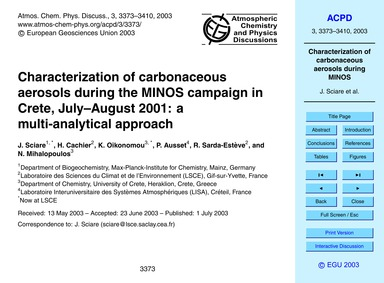 Characterization of Carbonaceous Aerosol... by Sciare, J.