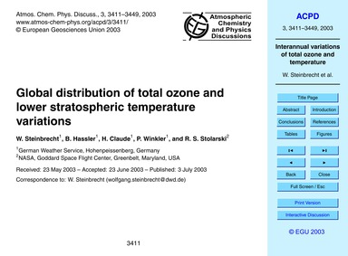 Global Distribution of Total Ozone and L... by Steinbrecht, W.