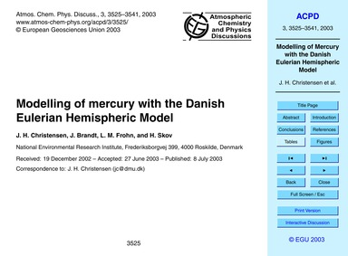 Modelling of Mercury with the Danish Eul... by Christensen, J. H.