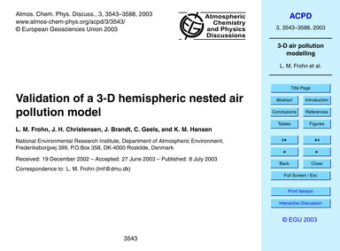Validation of a 3-d Hemispheric Nested A... by Frohn, L. M.