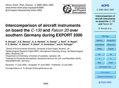 Intercomparison of Aircraft Instruments ... by Brough, N.