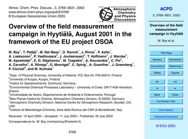 Overview of the Field Measurement Campai... by Boy, M.
