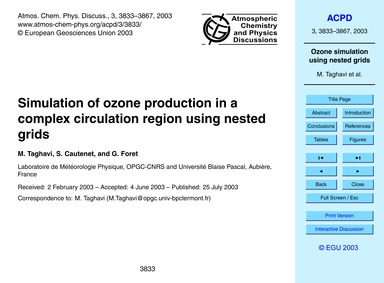 Simulation of Ozone Production in a Comp... by Taghavi, M.