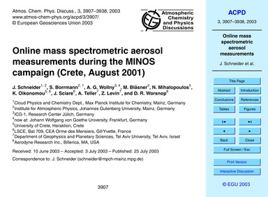 Online Mass Spectrometric Aerosol Measur... by Schneider, J.