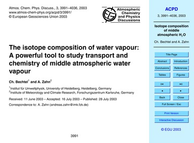 The Isotope Composition of Water Vapour:... by Bechtel, C.