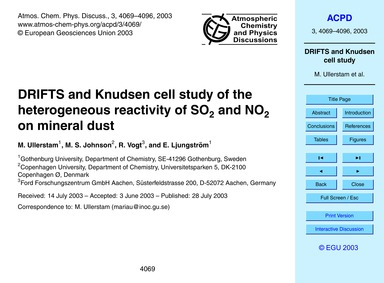 Drifts and Knudsen Cell Study of the Het... by Ullerstam, M.