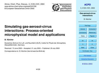 Simulating Gas-aerosol-cirrus Interactio... by Kärcher, B.