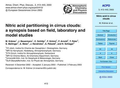 Nitric Acid Partitioning in Cirrus Cloud... by Krämer, M.
