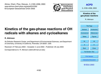 Kinetics of the Gas-phase Reactions of O... by Atkinson, R.