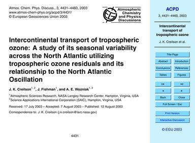 Intercontinental Transport of Tropospher... by Creilson, J. K.