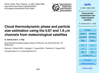 Cloud Thermodynamic Phase and Particle S... by Jolivet, D.