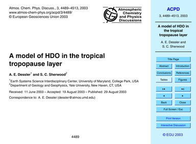 A Model of Hdo in the Tropical Tropopaus... by Dessler, A. E.