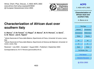 Characterization of African Dust Over So... by Blanco, A.