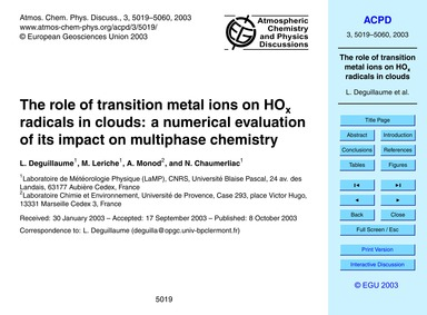 The Role of Transition Metal Ions on HoX... by Deguillaume, L.