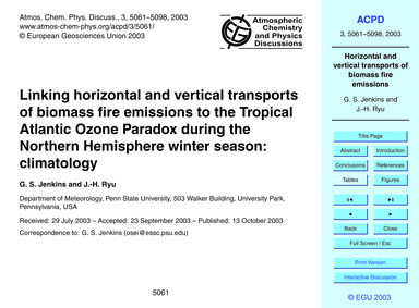 Linking Horizontal and Vertical Transpor... by Jenkins, G. S.