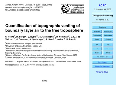 Quantification of Topographic Venting of... by Henne, S.