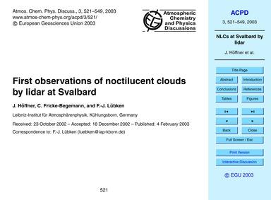 First Observations of Noctilucent Clouds... by Höffner, J.