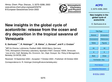 New Insights in the Global Cycle of Acet... by Sanhueza, E.