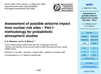 Assessment of Possible Airborne Impact f... by Baklanov, A. A.