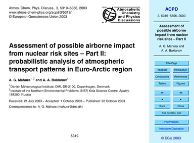 Assessment of Possible Airborne Impact f... by Mahura, A. G.